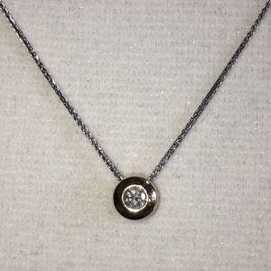 Jewelry - 14K Yellow Gold Diamond Bezel Solitaire Necklace